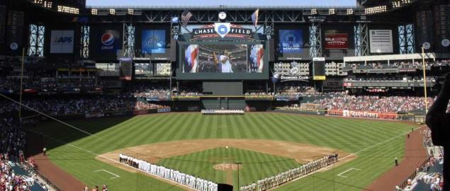 Arizona Diamondbacks season opener at their home stadium, Chase Field.