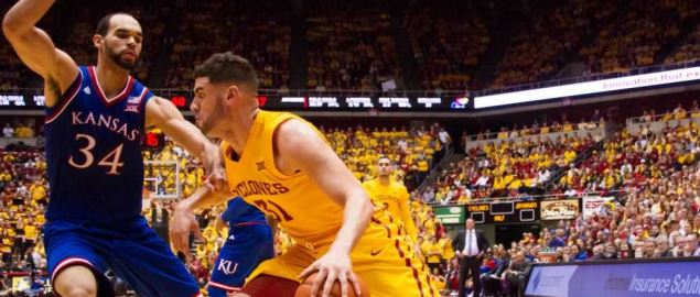 Iowa State vs Kansas Big XII matchup on January 25, 2016