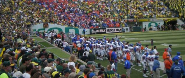 Boise State's sideline and cheering section during the first half of the Bronco's game.