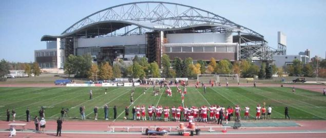 Match between the Bucknell Bisons and Calgary football teams.