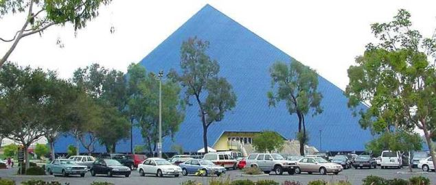 Panorama of Walter Pyramid at the Cal State Long Beach campus. Long Beach, CA.