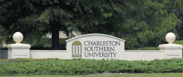 Brick sign showing where Charleston Southern is located.
