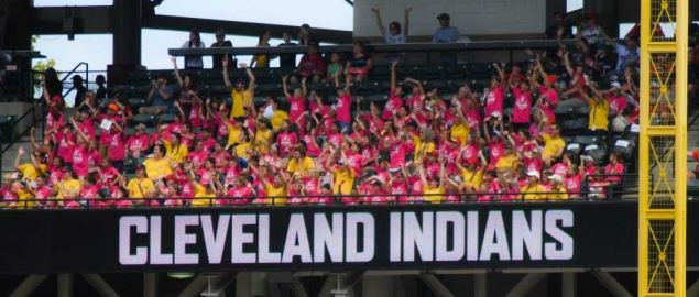 Fans Cheering at the Cleveland Indians stadium.