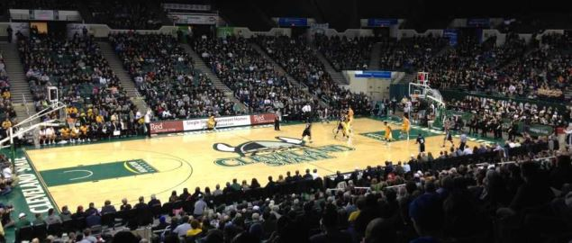 Interior view of the Wolstein Center in Cleveland, home of the Cleveland State Vikings.