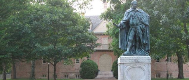 College of William and Mary in Williamsburg,statue of Norborne Berkeley.