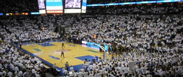 The Creighton Bluejays playing at home court.
