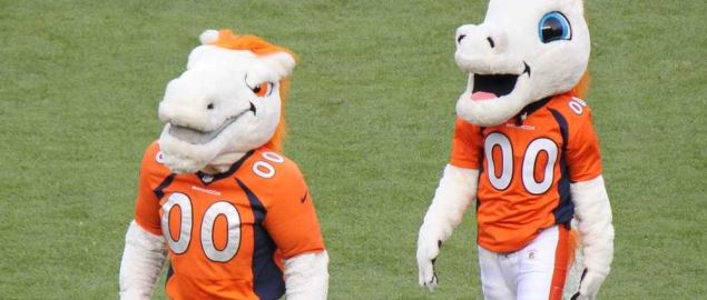 Miles, the mascot for the Denver Broncos.