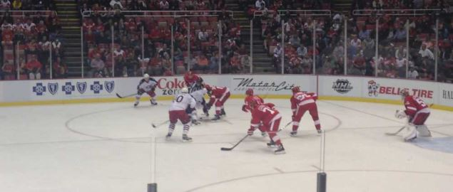 Face off during the Detroit Red Wings vs. Columbus Blue Jackets game.