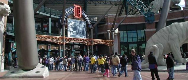 Entrance to Comerica Park, home of the Detroit Tigers.