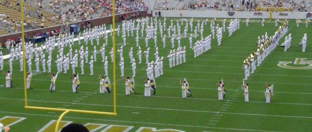 The Georgia Tech Marching Band plays a pregame show at Bobby Dodd Stadium.
