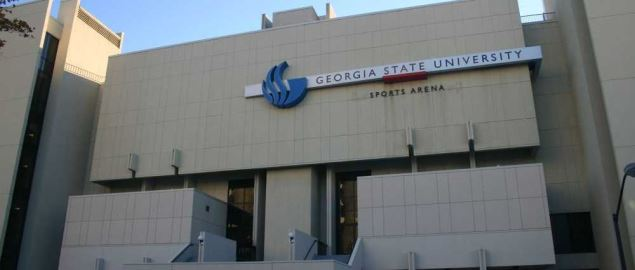 The exterior of the GSU Sports Arena in Atlanta, Georgia.
