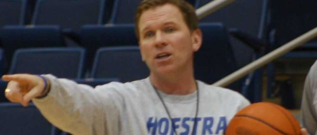 Coach Mo Cassara during a Hofstra practice in December 2011.