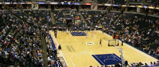 Inside Conseco Fieldhouse during an Indiana Pacers preseason game.