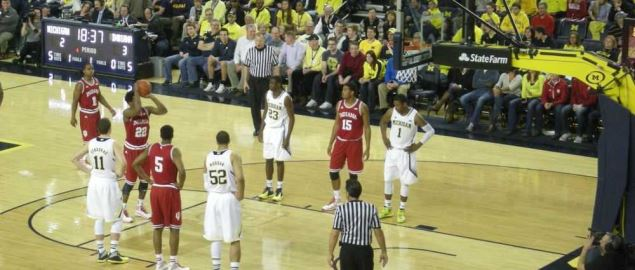 The Indiana Hoosiers line up to take a free throw during game against Michigan Wolverines.