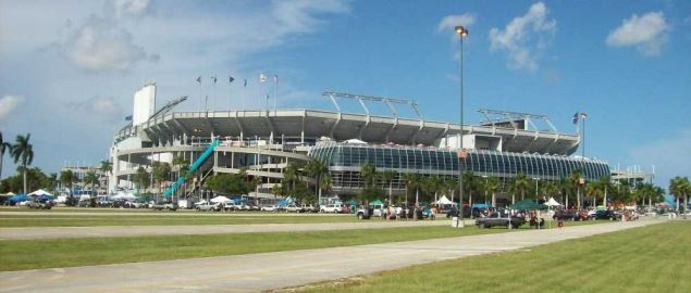 A view of Dolphin Stadium from the southwest side facing towards Gate H.