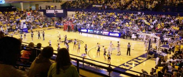 Interior view of the Memorial Athletic and Convocation Center at Kent State University.
