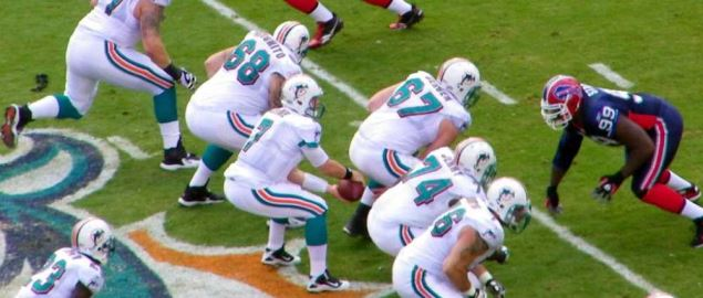 Buffalo Bills pass rush against the Miami Dolphins.
