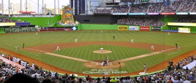 First pitch at Marlins Park, home of the Miami Marlins.