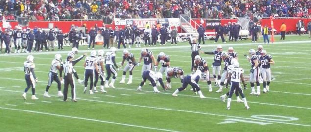 The New England Patriots line up against the San Diego Chargers.