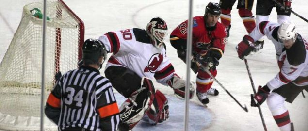 The New Jersey Devils in action against the Calgary Flames.