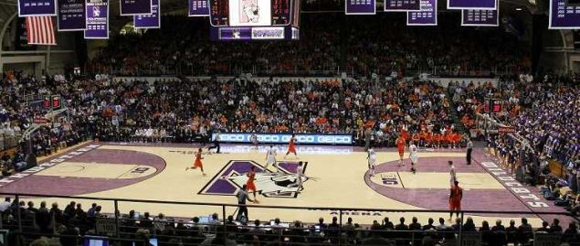 Welsh-Ryan Arena as the Northwestern Wildcats hosts Illinois Fighting Illini.