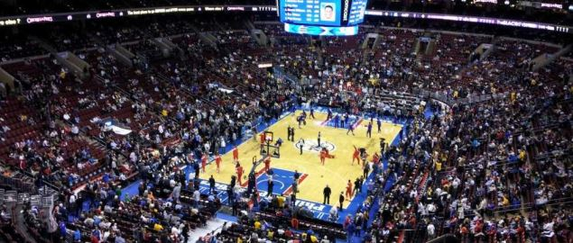 Wells Fargo Center during a 76ers vs Lakers game.
