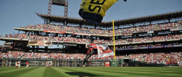 The Leap Frogs Parachute into Citizens Bank Park on Phillie's opening day.