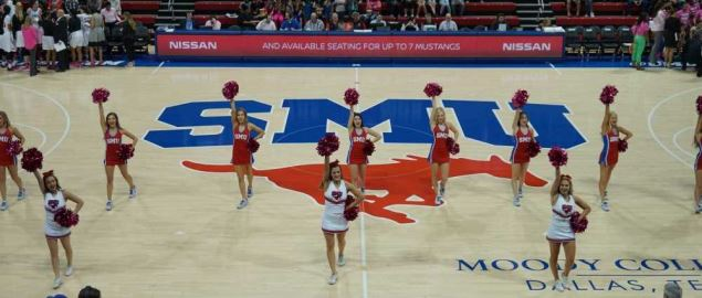 The SMU Mustangs cheerleaders performing during the SMU vs. Tusla game.