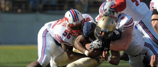 The SMU Mustangs take down Naval Academy quarterback.
