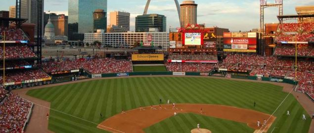 View of Busch Stadium, with Gateway Arch in background.