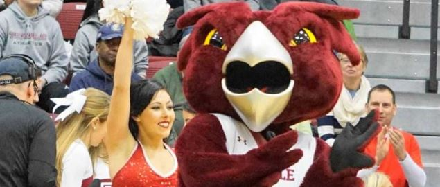 Hooter, the Temple mascot, appearing at the UConn Temple game.