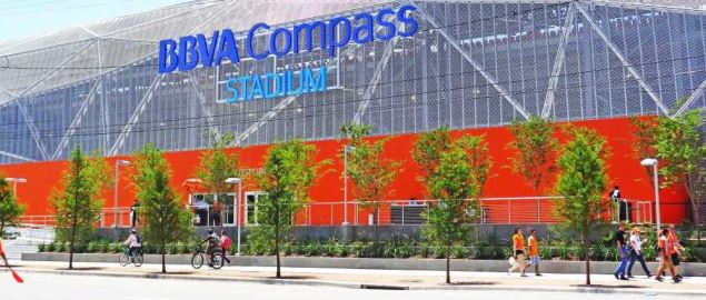 East facade of BBVA Compass Stadium, where Texas Southern plays football.