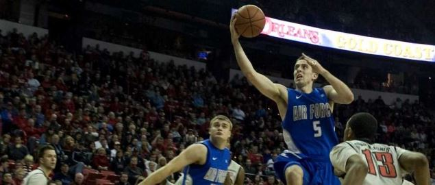 Mike Fitzgerald, U.S. Air Force Academy Falcons senior forward goes for a layup.