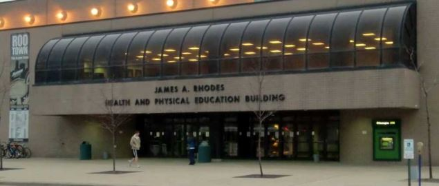 A view of the front of the James A. Rhodes Physical Education Building.
