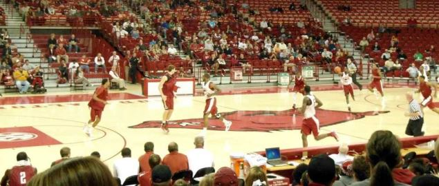 Action during a red-white scrimmage of the Arkansas Razorbacks basketball team.