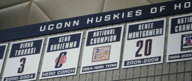The UCONN Huskies banners.