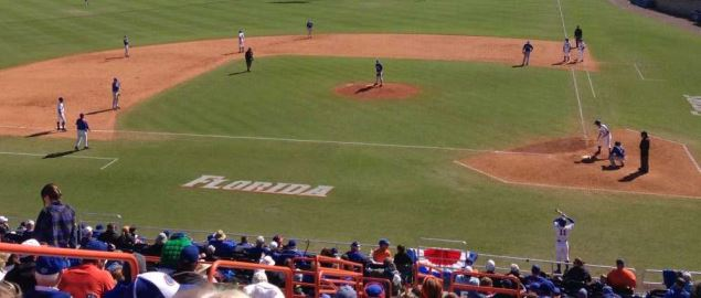 The Florida Gators baseball team playing a game against the Duke Blue Devils.