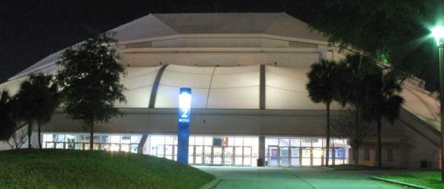 The O'Connell Center at the University of Florida at night.