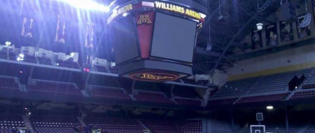(University of Minnesota's scoreboard at Williams Arena.