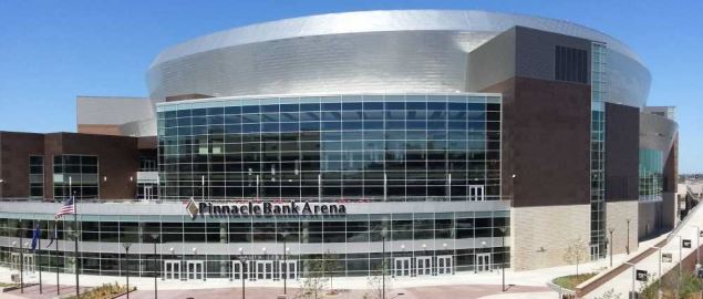 Outside view of Pinnacle Bank Arena, where the Nebraska Cornhuskers play.