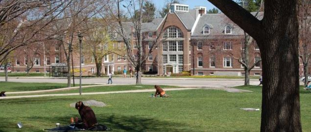 University of New Hampshire campus' Congreve Hall seen from across Thompson Hall lawn.