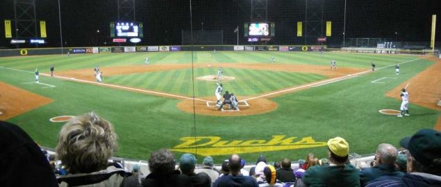 Oregon Ducks baseball game against the BYU Cougars at PK Park in Eugene, Oregon.