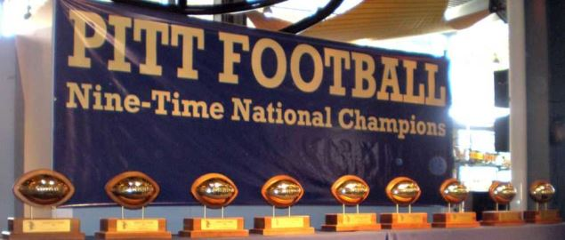 University of Pittsburgh Panther's nine football National Championship trophies.