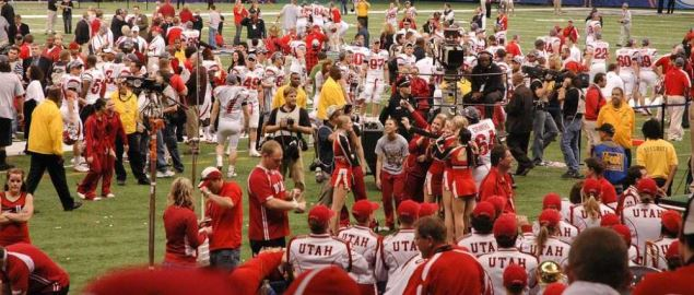The team of the Utah Utes after winning the 2009 Sugar Bowl in New Orleans.