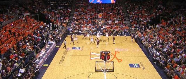 Virginia Tech vs University of Virginia men's basketball at John Paul Jones Arena.