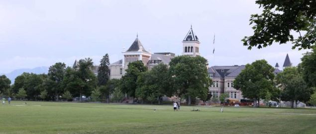 This is an image of Utah State University's Quad during the summer