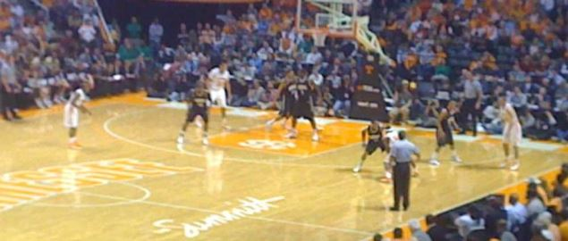 Tennessee Vols taking on the Vanderbilt Commodores in front of a packed arena.
