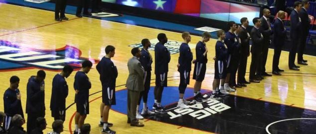 The Villanova Wildcats men's basketball team line up for National Anthem.