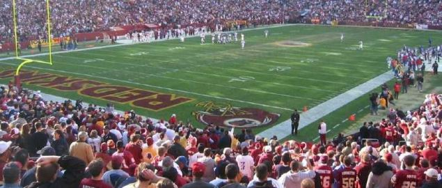Great view of the Washington Redskins stadium.