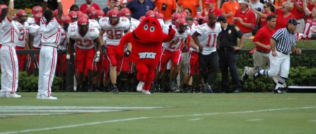 Big Red, the costumed mascot of the Western Kentucky University Hilltoppers